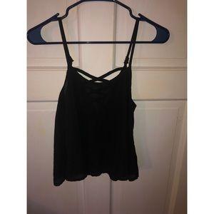 Flowy Cross back black blouse